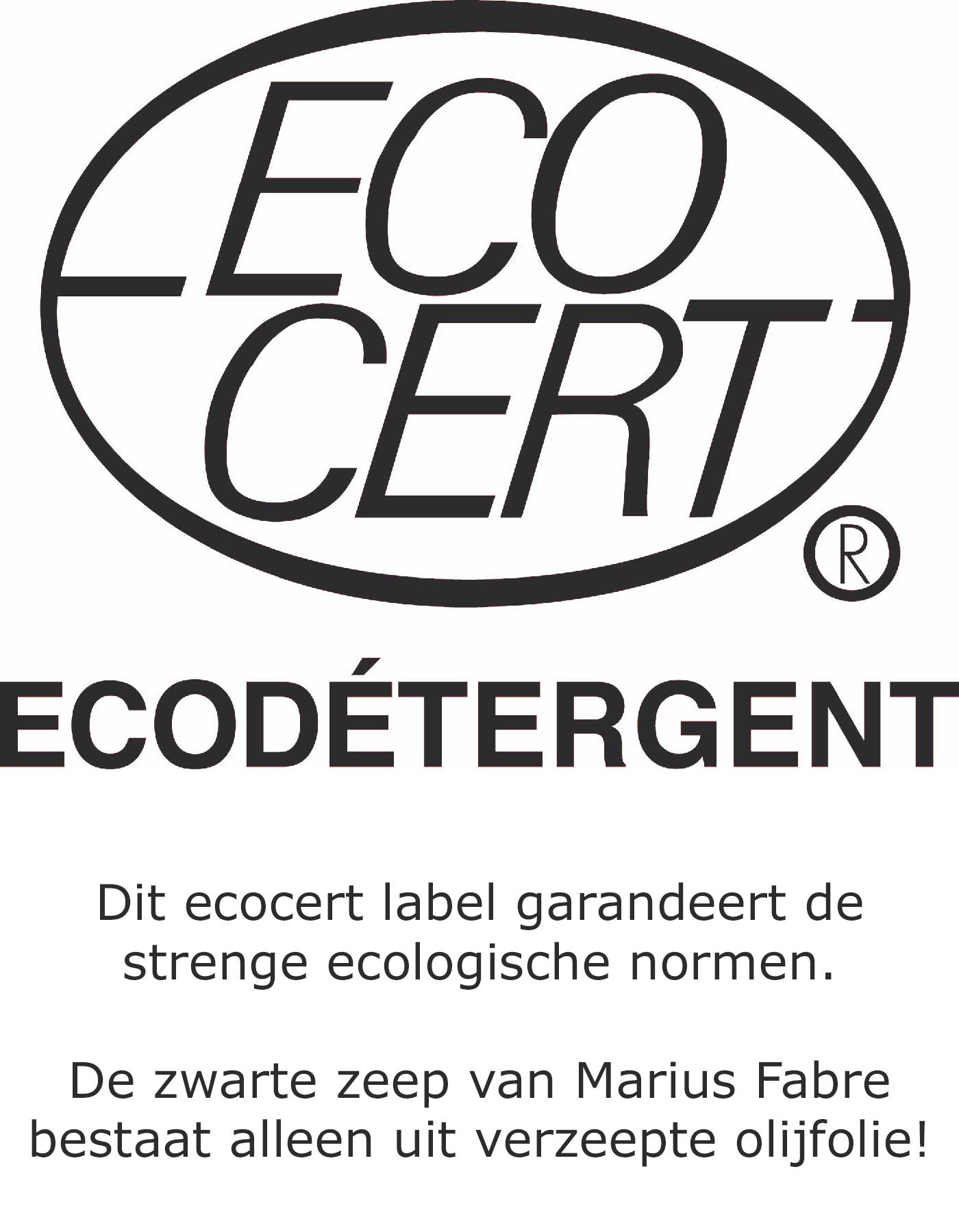 Eco certificaat van de zwarte zeep van Marius Fabre