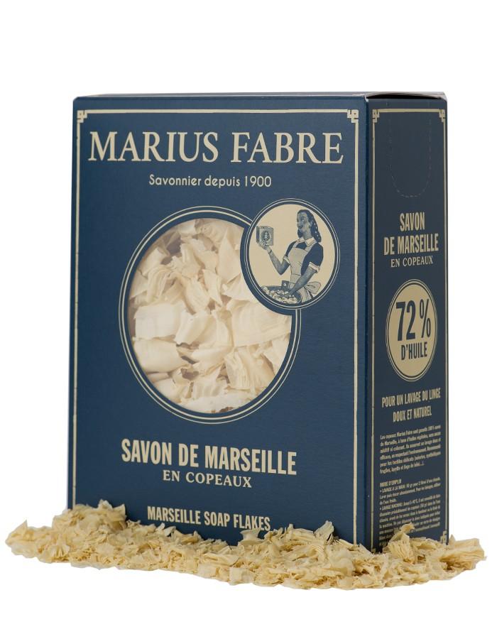 Marius Fabre zeepvlokken in een 750 gram kartonnen verpakking - www.skinessence.nl