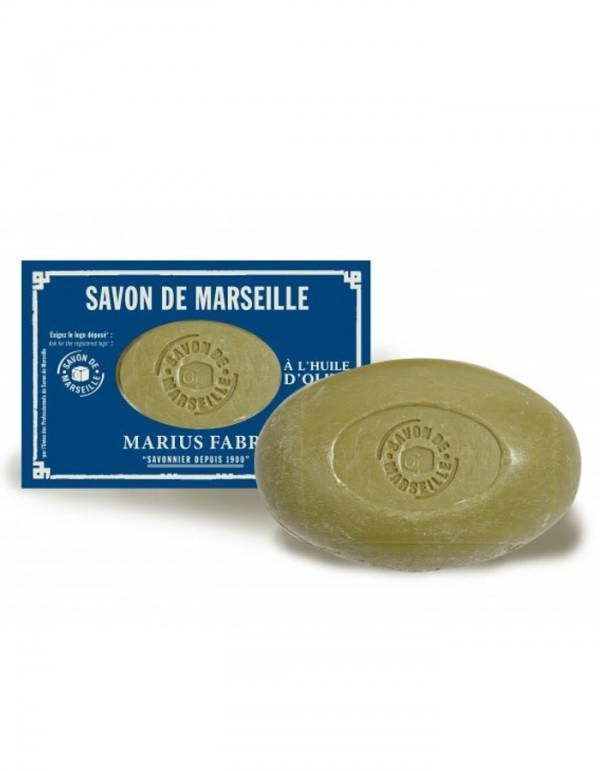 Marius Fabre Savon de Marseille ovaal zeepje van 150 gr in authentiek blauw doosje - www.skinessence.nl