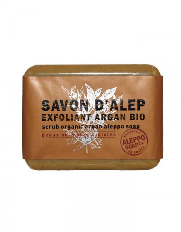 Savon d'Alep exfoliant Argan BIO - biologische aleppo arganolie srub - scrub organic argan aleppo soap - skinessence.nl