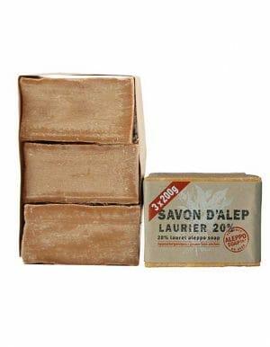 Aleppo Zeep met 20% laurierbesolien familieverpakking 3 x 200g
