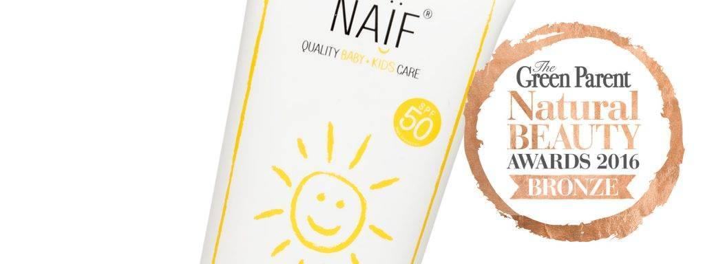 NAIF in top 3 van de Zonnebrand crèmes - Green Parent Natural Beauty Awards