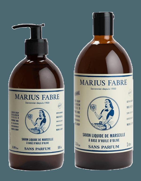 Aantrekkelijk duo van pompje en navulling marseillezeep van Marius Fabre - zonder geurstoffen